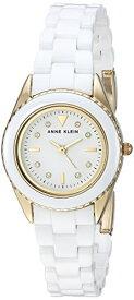 アンクライン 腕時計 レディース 【送料無料】Anne Klein Women's AK/3164WTGB Swarovski Crystal Accented Gold-Tone and White Ceramic Bracelet Watchアンクライン 腕時計 レディース