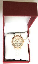 アンクライン 腕時計 レディース 【送料無料】Anne Klein Genuine Diamond White Ceramic Golden Bezel Bracelet Watch for Womenアンクライン 腕時計 レディース