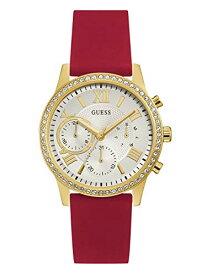 ゲス GUESS 腕時計 レディース GUESS Comfortable Gold-Tone + Red Stain Resistant Silicone Watch with Day, Date + 24 Hour Military/Int'l Time. Color: Red (Model: U1135L6)ゲス GUESS 腕時計 レディース