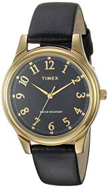 腕時計 タイメックス レディース 【送料無料】Timex Women's TW2R87100 Basics 36mm Black/Gold-Tone Leather Strap Watch腕時計 タイメックス レディース