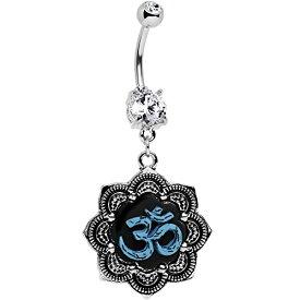 ボディキャンディー ボディピアス アメリカ 日本未発売 ウォレット Body Candy Stainless Steel Clear Accent Lotus Blue Ohm Belly Ring Created with Swarovski Crystalsボディキャンディー ボディピアス アメリカ 日本未発売 ウォレット