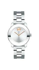 腕時計 モバード レディース 【送料無料】Movado Women's BOLD Iconic Metal Stainless Watch with a Flat Dot Sunray Dial, Silver/Grey (3600433)腕時計 モバード レディース