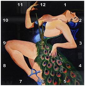壁掛け時計 インテリア 海外モデル アメリカ 輸入 3dRose DPP_24925_2 Woman Peacock Party-Wall Clock, 13 by 13-Inch壁掛け時計 インテリア 海外モデル アメリカ 輸入