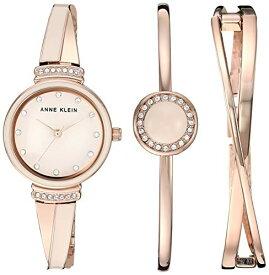 腕時計 アンクライン レディース 【送料無料】Anne Klein Women's AK/3292LPST Swarovski Crystal Accented Rose Gold-Tone and Blush Pink Watch and Bangle Set腕時計 アンクライン レディース