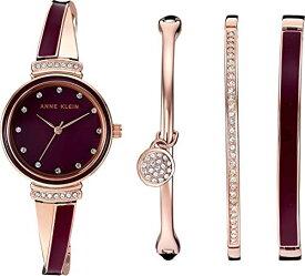 腕時計 アンクライン レディース 【送料無料】Anne Klein Women's AK/2716RBST Swarovski Crystal Accented Rose Gold-Tone and Burgundy Watch and Bangle Set腕時計 アンクライン レディース