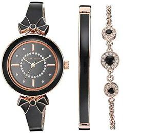 アンクライン 腕時計 レディース 【送料無料】Anne Klein Women's AK/3338BKST Swarovski Crystal Accented Rose Gold-Tone and Black Bangle Watch with Bracelet Setアンクライン 腕時計 レディース