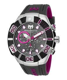 テクノマリーン 腕時計 メンズ Technomarine Tm-515017 Men's Black Reef Chrono Dark Grey And Fuchsia Silicone Dark Grey Dial Watchテクノマリーン 腕時計 メンズ