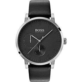 腕時計 ヒューゴボス 高級メンズ 【送料無料】BOSS Oxygen, Quartz Stainless Steel and Leather Strap Casual Watch, Black, Men, 1513594腕時計 ヒューゴボス 高級メンズ
