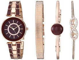 腕時計 アンクライン レディース 【送料無料】Anne Klein Women's AK/3286BYST Premium Crystal Accented Rose Gold-Tone and Burgundy Watch and Bracelet Set腕時計 アンクライン レディース