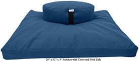 "ヨガ フィットネス 【送料無料】Bean Products Royal Blue Round 14"" Zafu + Zabuton Meditation Cushion Set - 100% Cotton - Organic Buckwheat Fill - Made in USAヨガ フィットネス"