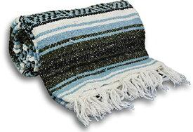 ヨガ フィットネス 【送料無料】YogaAccessories Traditional Mexican Yoga Blanket ( Light Blue)ヨガ フィットネス
