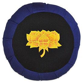 ヨガ フィットネス 【送料無料】YogaAccessories Round Cotton Zafu Meditation Cushion - Blue/Black with Yellow Lotusヨガ フィットネス