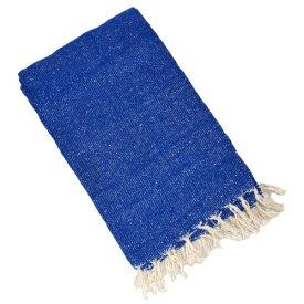 ヨガ フィットネス 【送料無料】YogaAccessories Solid Color Mexican Yoga Blanket - Blueヨガ フィットネス