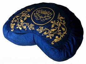 ヨガ フィットネス 【送料無料】Meditation Cushion Crescent Zafu Brocade Royal Blueヨガ フィットネス