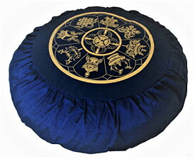 ヨガ フィットネス 【送料無料】Boon Decor Meditation Cushion Zafu Buckwheat Pillow Eight Auspicious Sacred Symbols - Blueヨガ フィットネス