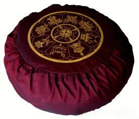 ヨガ フィットネス 【送料無料】Boon Decor Meditation Cushion Zafu Buckwheat Pillow Calligraphy Zen Circle Burgundyヨガ フィットネス