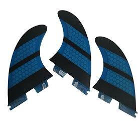 サーフィン フィン マリンスポーツ 【送料無料】UPSURF Surfboard Tri Fin FCS II M Size Fiberglass+Honeycomb Thruster Set (Blue G5)サーフィン フィン マリンスポーツ