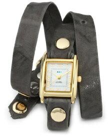 ラメールコレクションズ 腕時計 レディース LMWTW1033 La Mer Collections Women's LMWTW1033 14k Gold-Plated Watch with Grey Leather Wrap-Around Bandラメールコレクションズ 腕時計 レディース LMWTW1033