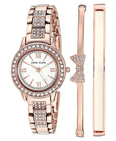 腕時計 アンクライン レディース 【送料無料】Anne Klein Women's Swarovski Crystal Accented Rose Gold-Tone Bracelet Watch and Bangle Set, AK/3334BHST腕時計 アンクライン レディース