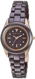 アンクライン 腕時計 レディース 【送料無料】Anne Klein Women's AK/3164BNRG Swarovski Crystal Accented Rose Gold-Tone and Brown Ceramic Bracelet Watchアンクライン 腕時計 レディース