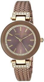 アンクライン 腕時計 レディース 【送料無料】Anne Klein Women's AK/1907BNTT Swarovski Crystal Accented Gold-Tone and Light Brown Mesh Bracelet Watchアンクライン 腕時計 レディース
