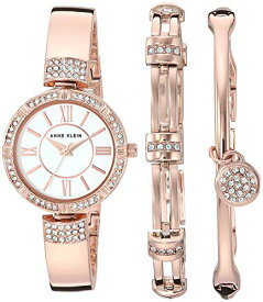 アンクライン 腕時計 レディース 【送料無料】Anne Klein Women's AK/3294RGST Swarovski Crystal Accented Rose Gold-Tone Bangle Watch and Bracelet Setアンクライン 腕時計 レディース