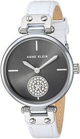 アンクライン 腕時計 レディース 【送料無料】Anne Klein Women's AK/3381GYWT Swarovski Crystal Accented Silver-Tone and White Leather Strap Watchアンクライン 腕時計 レディース