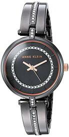 【送料無料】アンクライン Anne Klein スワロフスキークリスタルアクセントバングルウォッチ レディース腕時計 ケース30 AK/3249GYRT 38個のクリアスワロフスキークリスタルをセットしたガンメタルバングル