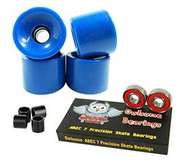 ベアリング スケボー スケートボード 海外モデル 直輸入 【送料無料】Owlsome ABEC 7 Precision Bearings + 70mm Longboard Skateboard Wheels (Solid Blue)ベアリング スケボー スケートボード 海外モデル 直輸入