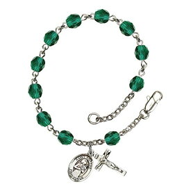 Bonyak Jewelry ブレスレット ジュエリー アメリカ アクセサリー 【送料無料】Bonyak Jewelry St. Agatha Silver Plate Rosary Bracelet 6mm December Blue Fire Polished Beads Crucifix Size 5/8Bonyak Jewelry ブレスレット ジュエリー アメリカ アクセサリー