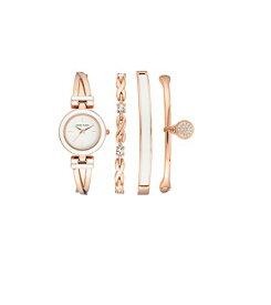 アンクライン 腕時計 レディース 【送料無料】Anne Klein Women's Swarovski Crystal Accented Rose Gold-Tone Bangle Watch and Bracelet Set, AK/3284WRSTアンクライン 腕時計 レディース