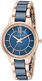 アンクライン 腕時計 レディース 【送料無料】Anne Klein Women's AK/3344NVRG Swarovski Crystal Accented Rose Gold-Tone and Navy Blue Ceramic Bracelet Watchアンクライン 腕時計 レディース