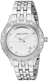 アンクライン 腕時計 レディース 【送料無料】Anne Klein Women's Swarovski Crystal Accented Day/Date Function Silver-Tone Bracelet Watch, AK/3475SVSVアンクライン 腕時計 レディース