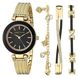 アンクライン 腕時計 レディース 【送料無料】Anne Klein Women's Swarovski Crystal Accented Rose Gold-Tone Textured Bangle Watch and Bracelet Set, AK/3394BKSTアンクライン 腕時計 レディース