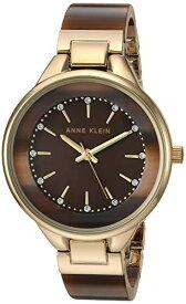 アンクライン 腕時計 レディース 【送料無料】Anne Klein Women's Swarovski Crystal Accented Gold-Tone and Brown Resin Bangle Watch, AK/1408BNGBアンクライン 腕時計 レディース