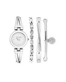 腕時計 アンクライン レディース 【送料無料】Anne Klein Women's Swarovski Crystal Accented White and Silver-Tone Watch and Bracelet Set, AK/3576WTST腕時計 アンクライン レディース