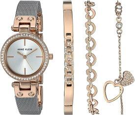 腕時計 アンクライン レディース 【送料無料】Anne Klein Women's Premium Crystal Accented Rose Gold-Tone and Silver-Tone Mesh Watch and Bracelet Set腕時計 アンクライン レディース