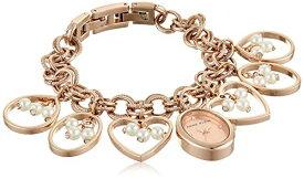 腕時計 アンクライン レディース 【送料無料】Anne Klein Women's Premium Crystal Accented Rose Gold-Tone Charm Bracelet Watch, AK/3562RGCH腕時計 アンクライン レディース