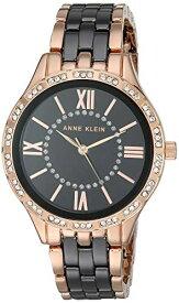 腕時計 アンクライン レディース 【送料無料】Anne Klein Women's Swarovski Crystal Accented Rose Gold-Tone and Black Ceramic Bracelet Watch, AK/3548BKRG腕時計 アンクライン レディース