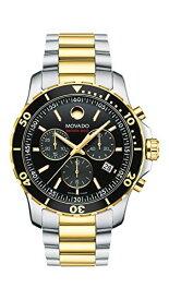 腕時計 モバード メンズ 【送料無料】Movado Men's Series 800 2-Tone Chronograph Watch with Printed Index, Gold/Black/Silver (2600146)腕時計 モバード メンズ
