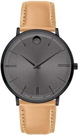 モバード 腕時計 メンズ 【送料無料】Movado Ultra Slim, Black PVD Case, Grey Dial, Beige Leather Strap, Men, 0607378モバード 腕時計 メンズ