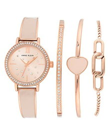 腕時計 アンクライン レディース 【送料無料】Anne Klein Women's Swarovski Crystal Accented Rose Gold-Tone and Blush Pink Bangle Watch and Bracelet Set, AK/3716BHST腕時計 アンクライン レディース