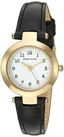 腕時計 アンクライン レディース 【送料無料】Anne Klein Women's Easy to Read Gold-Tone and Black Leather Strap Watch, AK/3522WTBK腕時計 アンクライン レディース