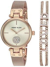 腕時計 アンクライン レディース 【送料無料】Anne Klein Women's Premium Crystal Accented Rose Gold-Tone Mesh Watch and Bracelet Set, AK/3552RGST腕時計 アンクライン レディース