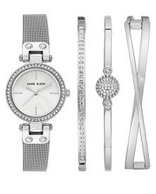 腕時計 アンクライン レディース 【送料無料】Anne Klein Women's Swarovski Crystal Accented Silver-Tone Mesh Bracelet Watch and Bangle Set, AK/3389SVST腕時計 アンクライン レディース
