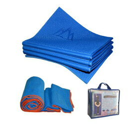 ヨガマット フィットネス 【送料無料】Khataland Yoga Set-YoFoMat (Patented Folding Yoga Mat) + Equanimity Premium Yoga Towel + Travel Bag, Blueヨガマット フィットネス