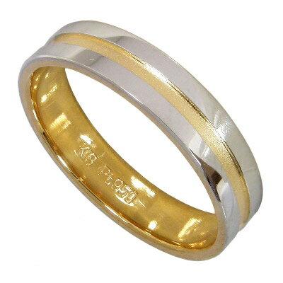 【10%OFF】お買い物マラソン 【サイズ限定 11号】マリッジリング結婚指輪:プラチナ950(Pt950)&K18ゴールド(K18)【刻印無料】