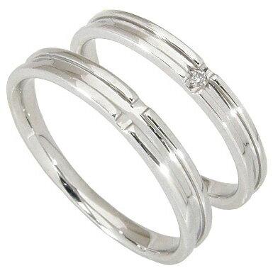 【刻印無料】マリッジリング 結婚指輪 ペア 2本セット 1粒ダイヤ0.006ct K10ホワイトゴールド K10WG ペアリング