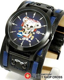エドハーディー gl2-sk GLADIATOR2 グラディエーター2 Ed-Hardy 腕時計 スカル ブラック 黒×ブルー 【男性用腕時計 リストウォッチ ランキング ブランド 防水 カラフル】