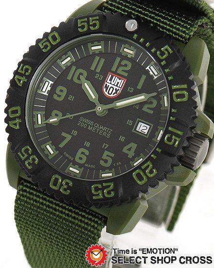 【即納・在庫有り】ルミノックス LUMINOX メンズ 腕時計 ネイビーシール カラーマーク アナログ 替えベルト付 3042 グリーン/ブラック 黒 T25表記 【あす楽】
